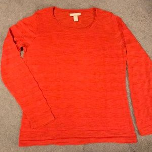 Orange striped long sleeve knit top